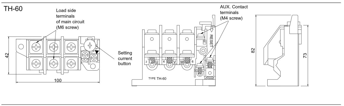 NHD 3 Pole NTH-0.75 Thermal Overload Relay 0.5-0.75A